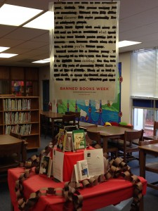 This display features titles that were the most often banned last year and the most banned books of all time.
